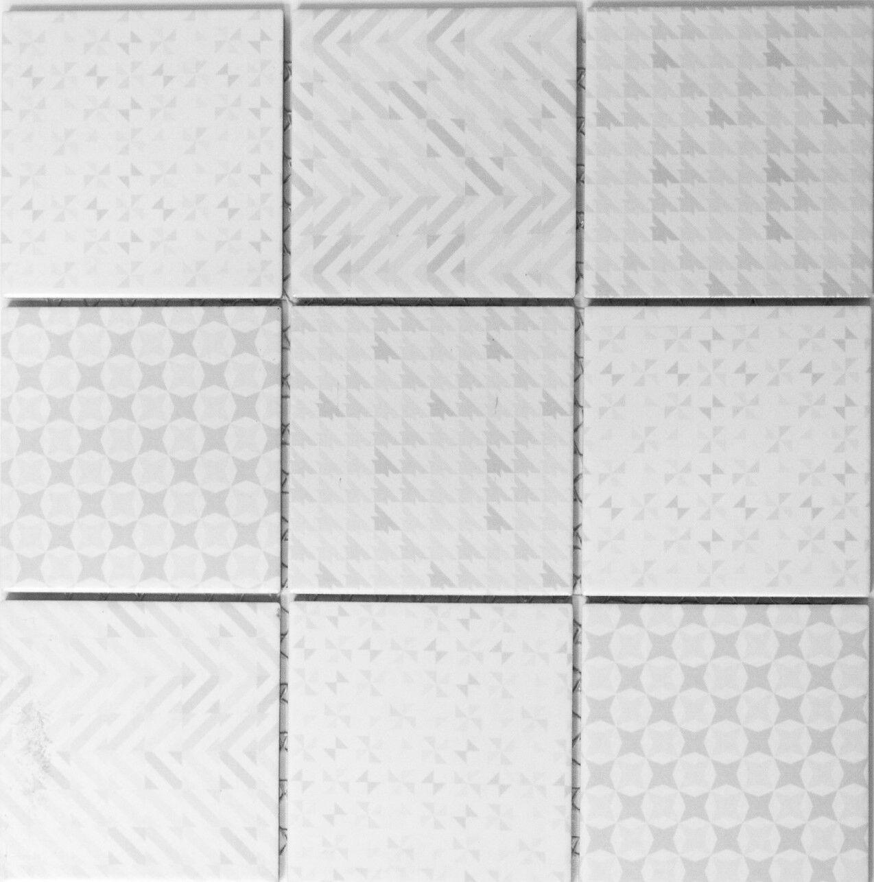 Mosaik Geo Weiß Fliesenspiegel Küche Wandverkleidung Art  22B-1401   10 Matten