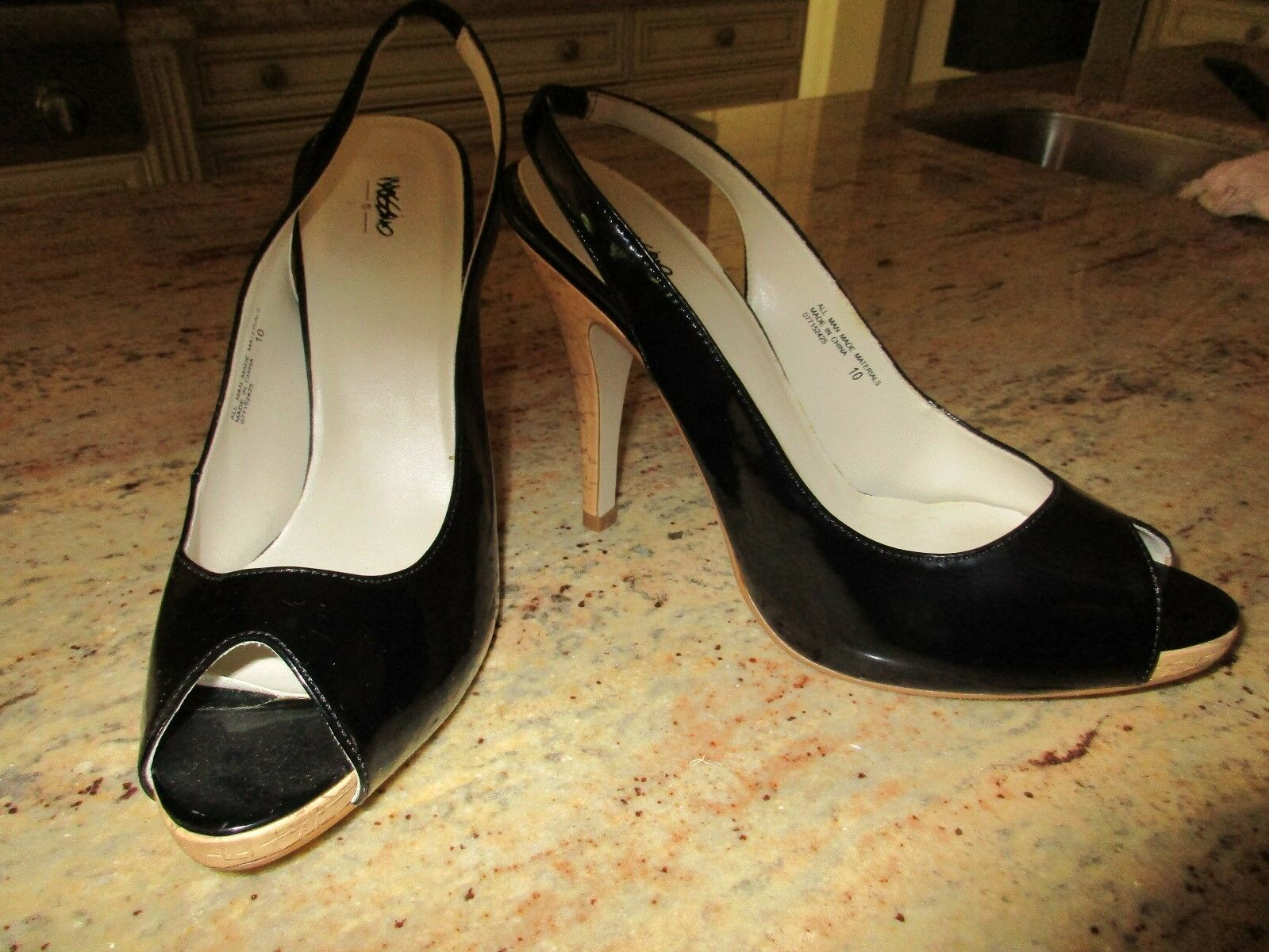 NEW MOSSIMO Black Patent Leather Peep Size Toe Platforn Slingback Heels, Size Peep 10 d776a1