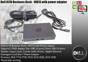 Details about Dell K17A Business Dock WD15 USB-C DUAL FHD 4K Dell  Latitude/Precision/XPS EF247