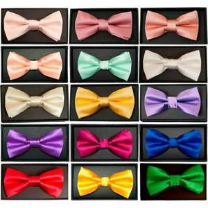 d1ced6fb5f18 Hand Made Mens Satin Bow Tie Pre Tied Wedding Prom adjustable Dickie ...