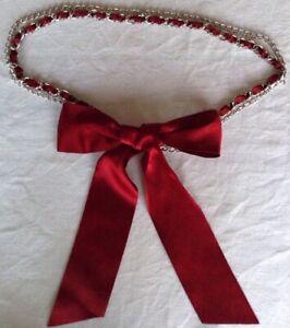 Acier Inoxydable Chaîne Ceinture Avec Rouge Foncé Ruban Satin 24 In (environ 60.96 Cm) Taille-afficher Le Titre D'origine