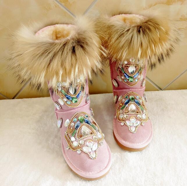 Lo último Para mujeres Invierno de Grueso Piel Grueso de Caliente de la rodilla botas De Nieve Zapatos con Estrás Talla 4.5-11 4d1724