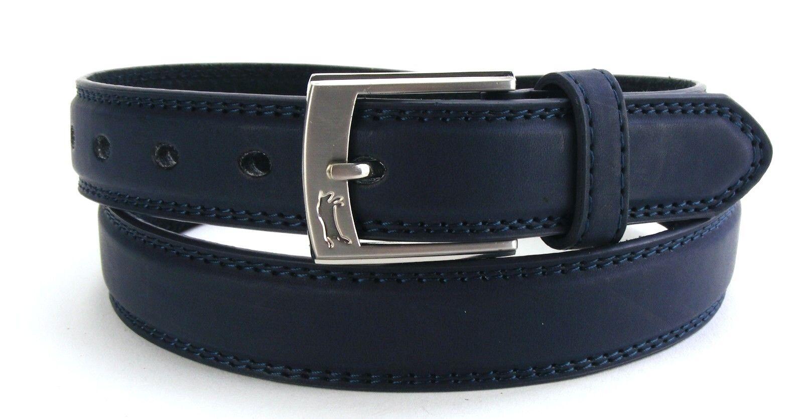 Echt Herrengürtel Damengürtel blau marine schmal 2,5 cm Jeansgürtel Naht HRG2F