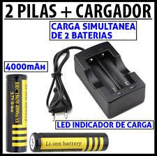 2x PILAS RECARGABLES CALIDAD ultrafire 18650 4000mAh 3.7V + CARGADOR BATERIA