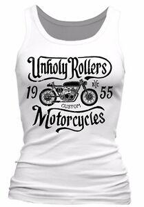 Unholy-Rollers-ladies-Tank-Top-Biker-skull-motorcycle-rock-bike-classics-womens