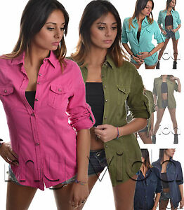 Camicia-Maglia-camicietta-Donna-giacca-Taschini-Bottoni-cinta-COTONE-casual-C05
