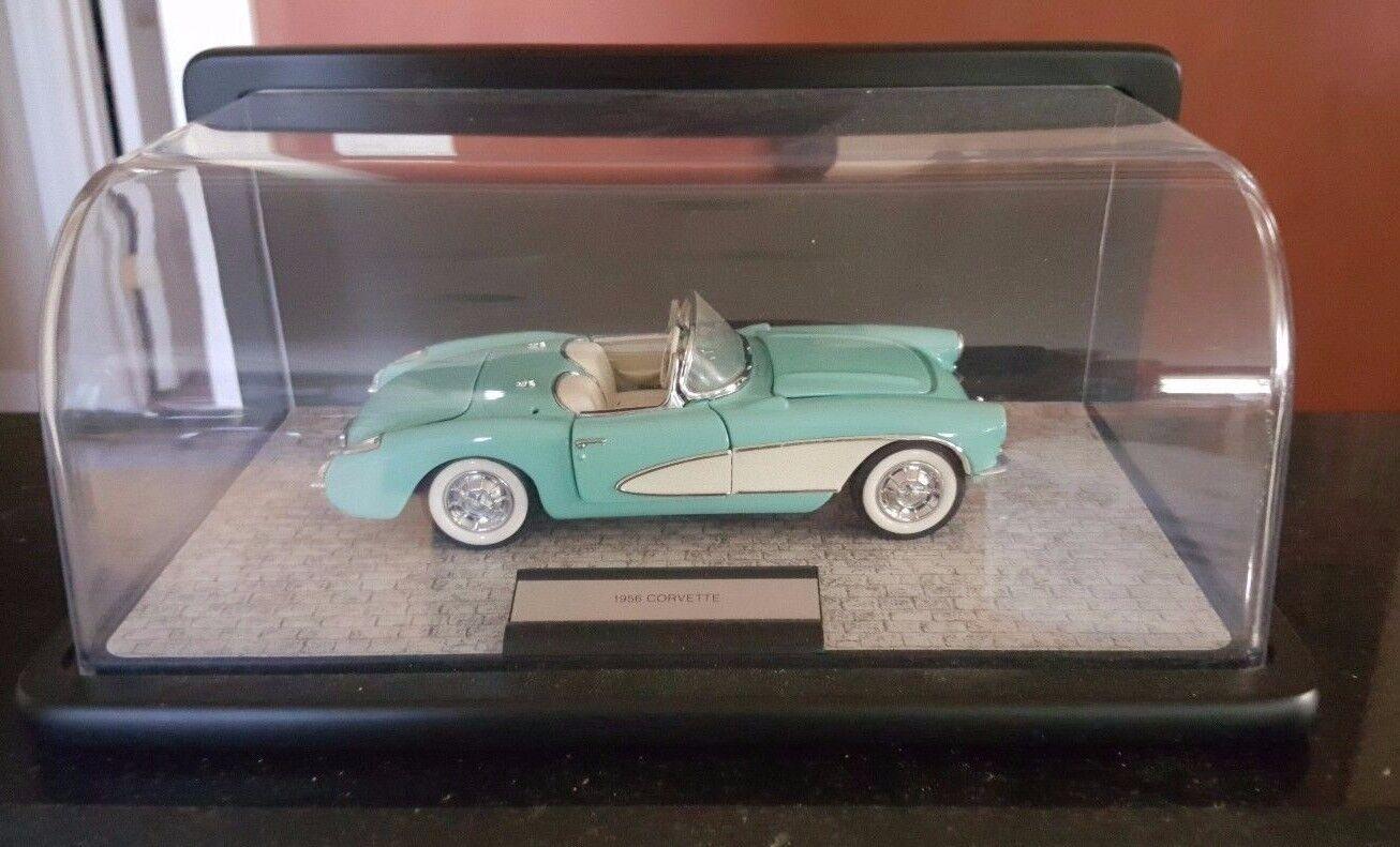 1956 Franklin mint Corvette verde azulado & blancooo 1 24 Escala Con Vitrina