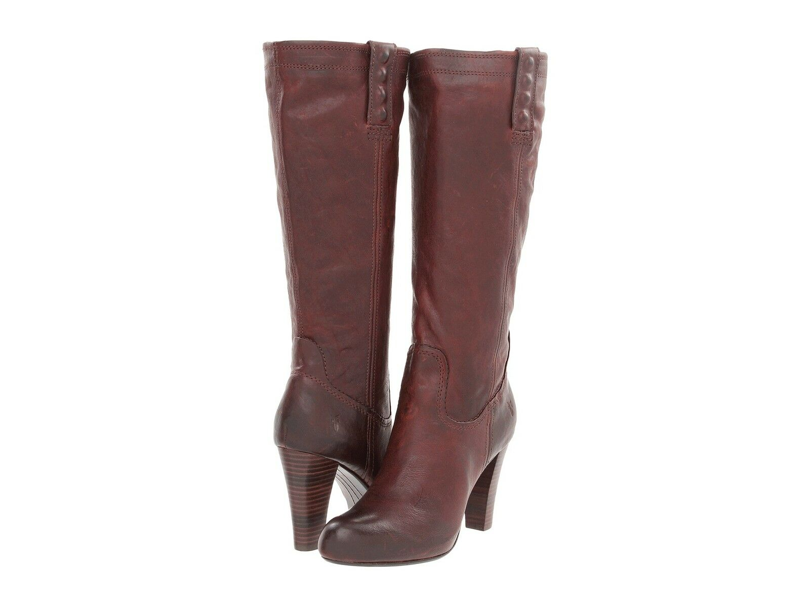 Frye Womens Miranda Stud Tall Dark Brown Pull On Casual Mid Calf Heels Boots
