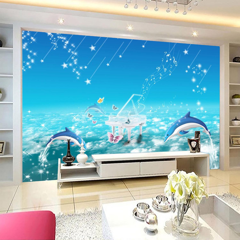 3D Klavier Delphin 81 Fototapeten Wandbild Fototapete Bild Tapete Familie Kinder