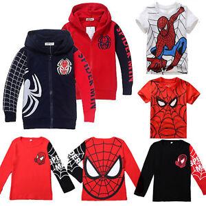 Kids-Boys-Spider-Man-T-Shirt-Tee-Pullover-Hooded-Hoodie-Sweater-Jacket-Coat-Tops
