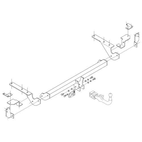 Detachable Swan Neck Towbar for Toyota Rav 4 Rav4 SUV W//O Rear Spare 2006-2013