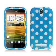 For Cricket HTC ONE SV HARD Protector Case Snap On Phone Cover Blue Polka Dots