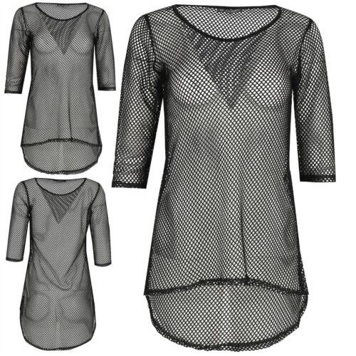 Womens Ladies Round Neck Fish Net 3//4 Sleeve See Through Curved Hem Hi Lo Top