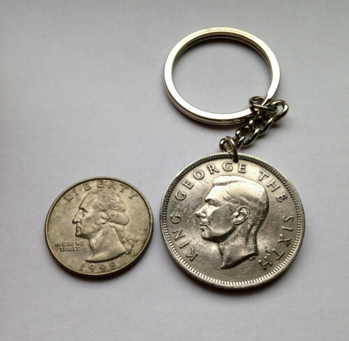 1965 New Zealand 1//2 Crown coin key chain Maori Koruru Mask Wellington n002520