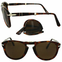 Persol Men's Steve Mcqueen 24/57 Havana Foldable Plastic Polarized Sunglasses 52
