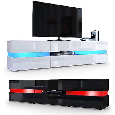 TV Board Lowboard Unterschrank Rack Flow in Weiß oder Schwarz Hochglanz