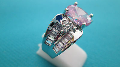925 Silver Natural Tourmaline And White Topaz Ring Size R 1/2, US 8.75  (rg1378)