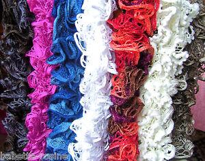 dernière vente nouveau sélection les clients d'abord Détails sur ÉCHARPE MODE à FROUFROU en laine Fantaisie tricotée main -  Coloris au choix