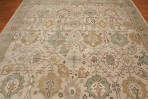 Antique-Hand-Made-Agra-Beige-Traditional-Persian-Design-Wool-Area-Rug-amp-Carpet