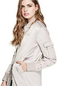 b594aed80 GUESS Edith $198 Sporty Longline Bomber Long Jacket Beige S 4 5, M 6 ...