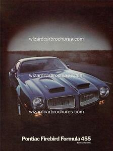 1972 PONTIAC FIREBIRD 455 A3 POSTER AD SALES BROCHURE ADVERTISEMENT ADVERT