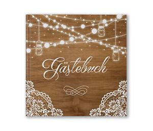 Gästebuch Hochzeit Holz Hochzeitsbuch Vintage Spitze personalisiert Tischdeko