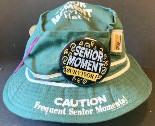 Senior Moment Survival Bucket Green Hat Gag Gift X
