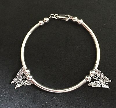 Aspiring Sterling Silver 925 Hand Made Butterfly Bracelet Uk Size Medium Good Heat Preservation Jewelry & Watches