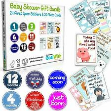 44 Pc Set Baby Monthly & Milestone Stickers Pack for Photos 24 Stickers 20 Cards