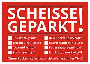 Notizblock-Scheisse-Geparkt-fuer-die-Windschutzscheibe-50-Blatt-Rot-Falschparker