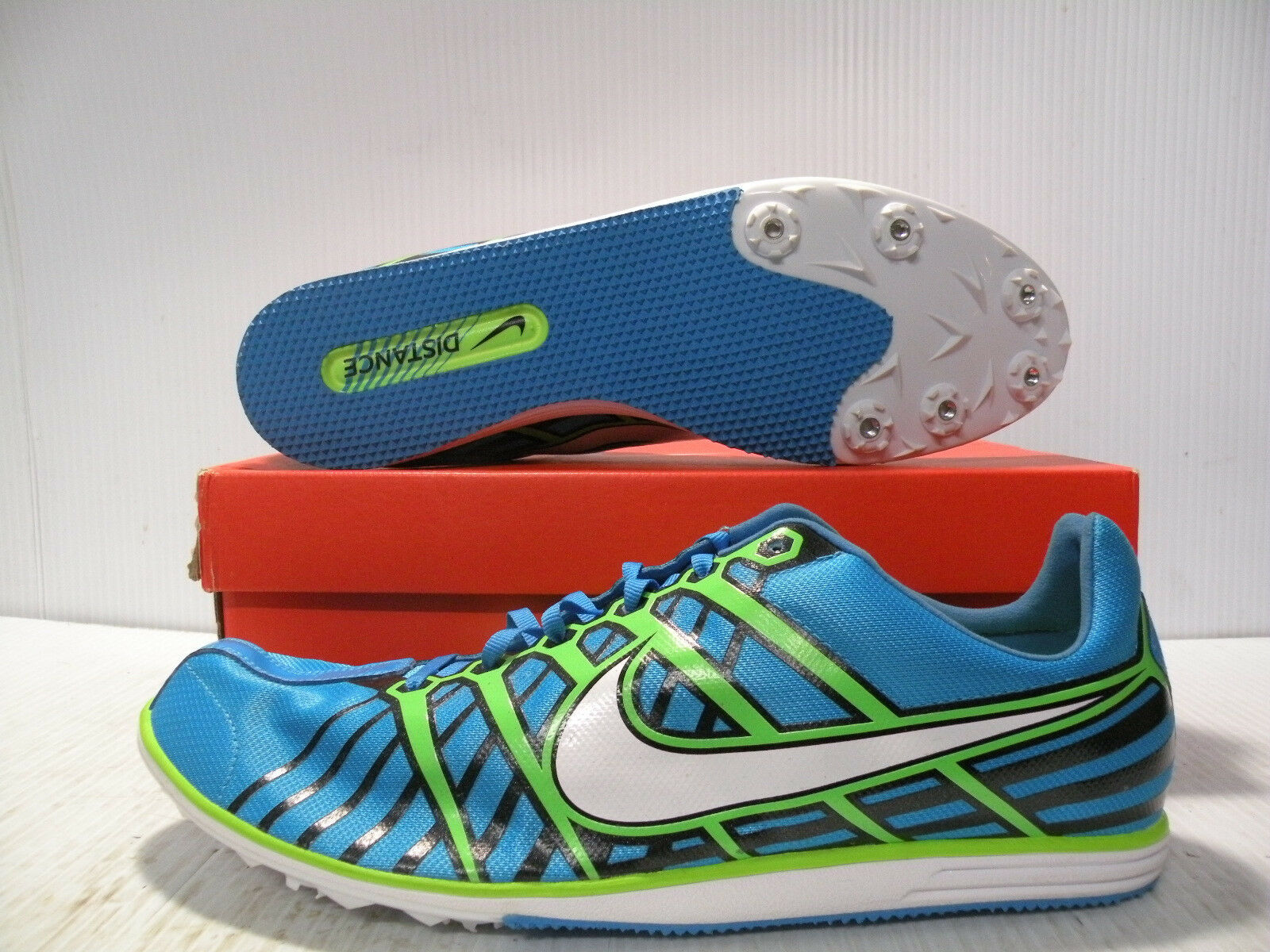 NIKE ZOOM RIVAL D 6 RUNNING SPIKES MEN SHOES blueE GREEN 468649-413 SIZE 14 NEW