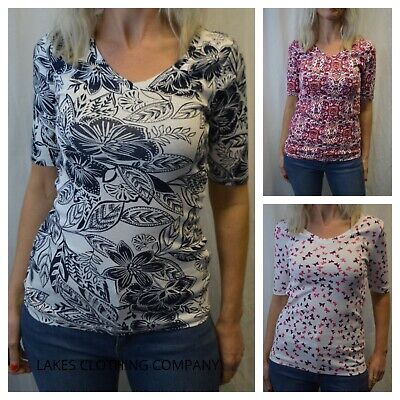 M/&S Ladies T-Shirt Cotton Half Sleeve Top V Neck Plain Various Designs Size 6-22