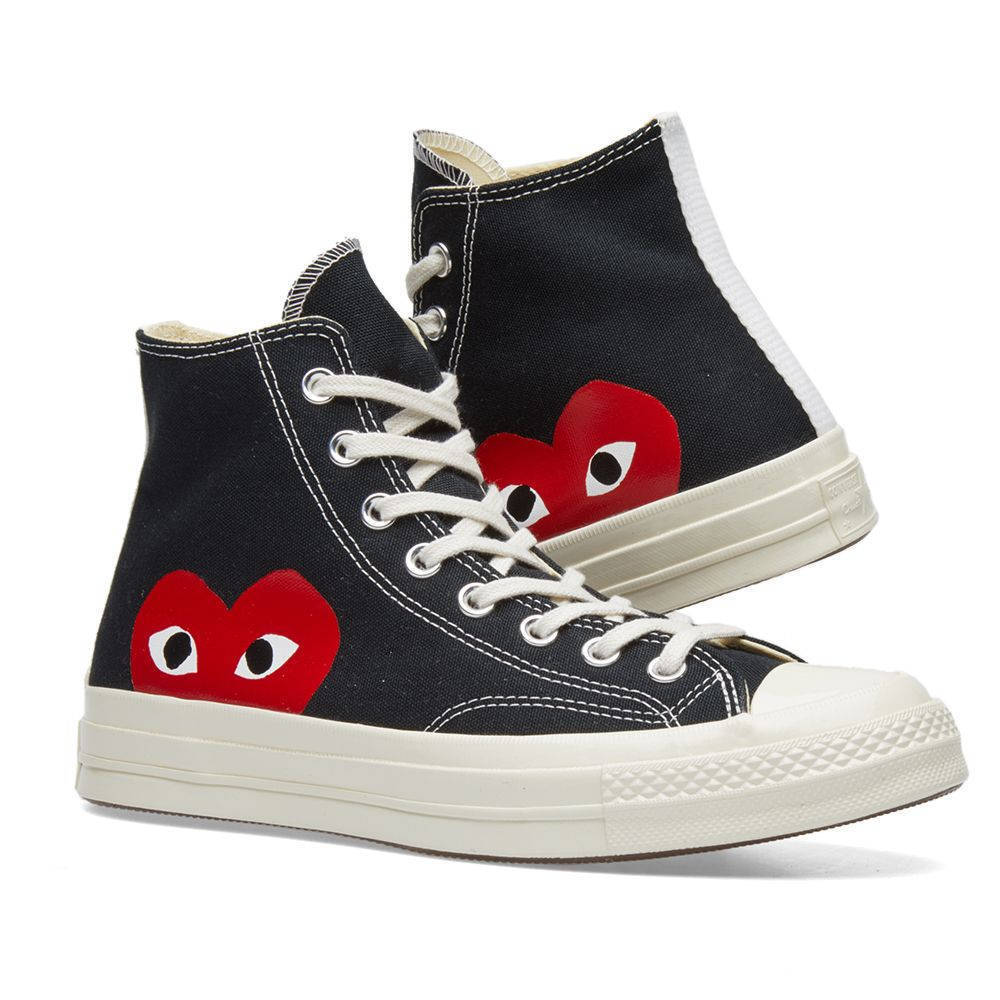 Comme des Garcons Play x Converse Chuck Taylor Black Black Black White Red High 80f125
