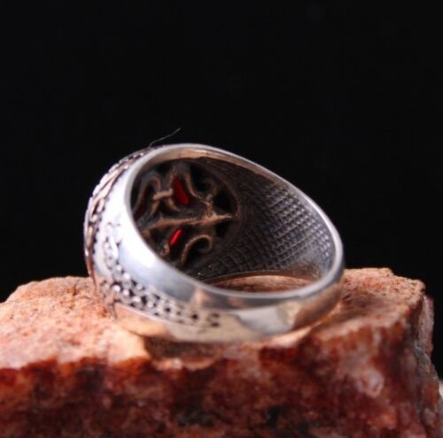 ORİGİNAL Red Agate Aqeeq Stone Turkish 925 Sterling Silver Mens Ring ALL SİZE