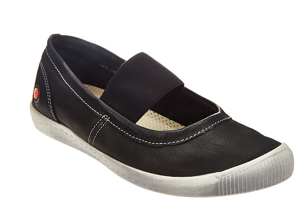 Softinos by FLY London Washed Leather Mary Janes Ion Black Womens EU35 US 5 New