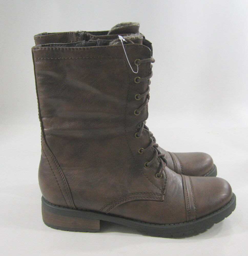 New ladies  Dark Brown 1.5 Low Heel Lace Up Combat Sexy Ankle Boots Size 7
