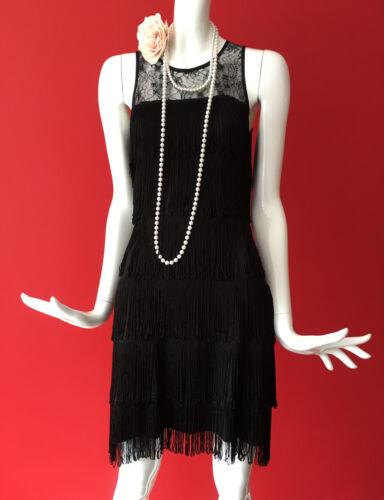 Warehouse 1920s 8 Charleston 8 Black Gatsby 6 Dress Flapper Tassle Fringe Size r1Brq4T