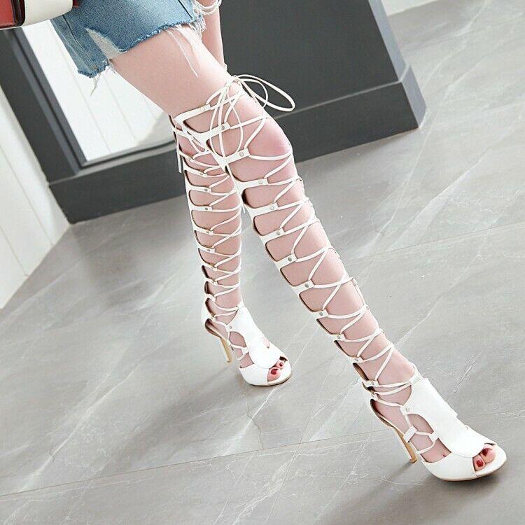 vendite dirette della fabbrica Donna  Gladiator Thigh-High stivali Roma Roma Roma Sandals High Heels Peep Toe Party scarpe  la vostra soddisfazione è il nostro obiettivo