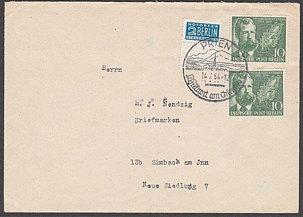 GERMANY 1954 Berlin Notopfer stamp on cover + Mergenthaler 10pf (2).........B342