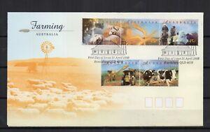 AUSTRALIE-Farming-Ferme-travaux-champs-1998-5-timbres-sur-1-enveloppe-FDC