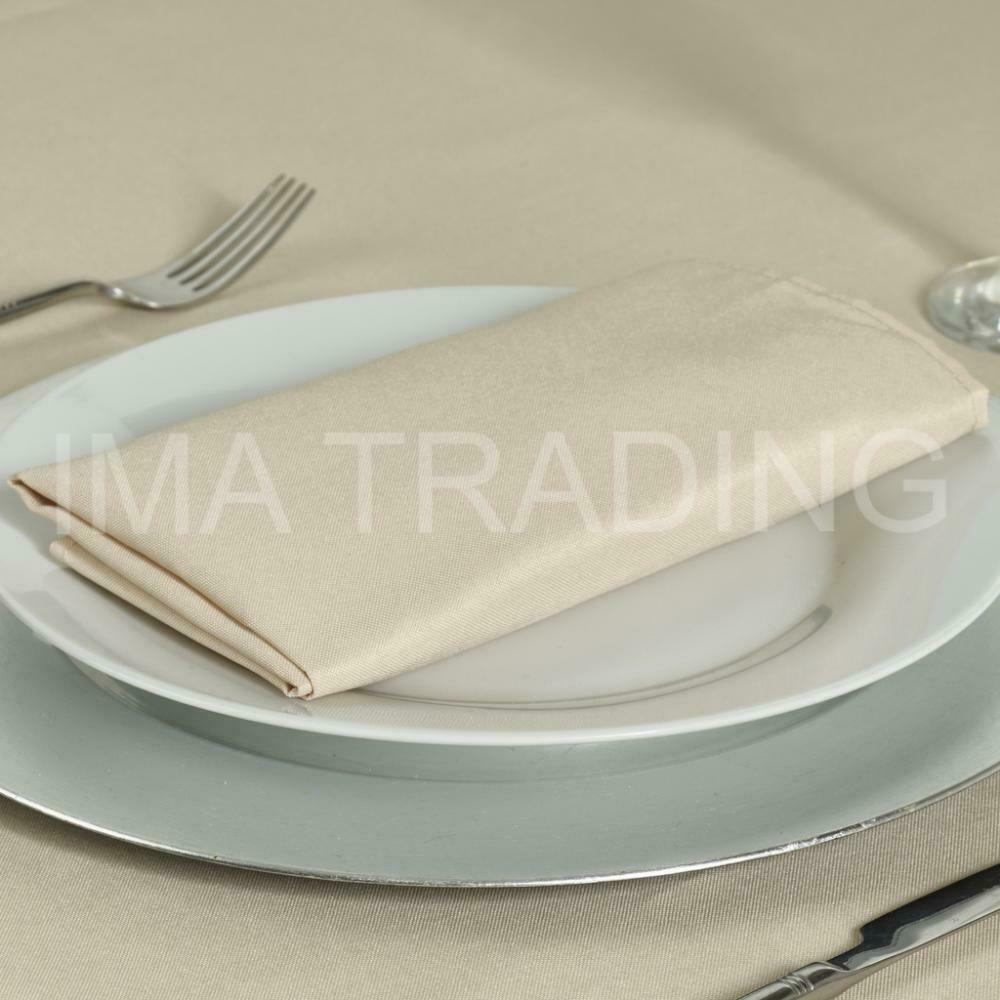BEIGE ROUND TABLECLOTH POLYESTER TABLE CLOTH VARIOUS SIZES