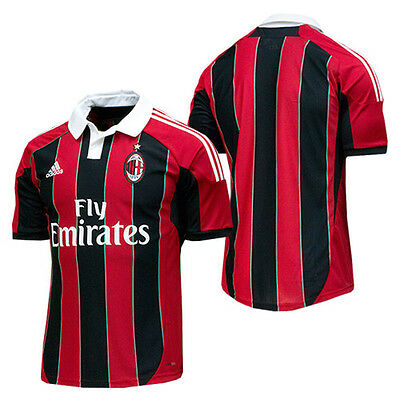 BRAND NEW $110 Adidas Men/'s AC Milan Home Replica Player Jersey Black Red S11836