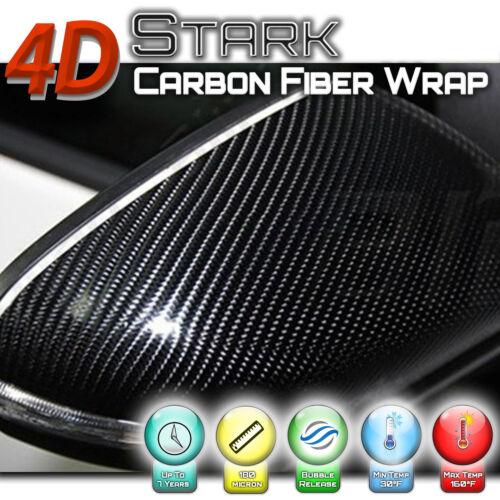 """4D Black Carbon Fiber Vinyl Wrap Bubble Free Air Release 24/"""" x 60/"""" Inch J"""