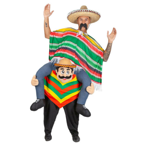 Carry Me Mexican Guy Fancy Dress Costume Poncho Sombrero Adult Mascot