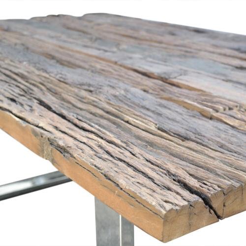 Esstisch Massivholz Tisch Holz Edelstahl Industrie Design Shabby 200cm AF2041