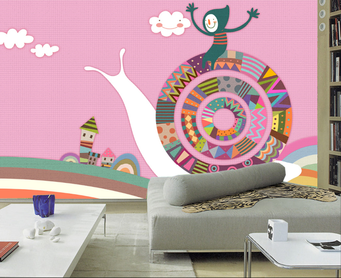 3D Farbe Cartoon Snail Paper Wall Print Wall Decal Wall Deco Indoor Murals