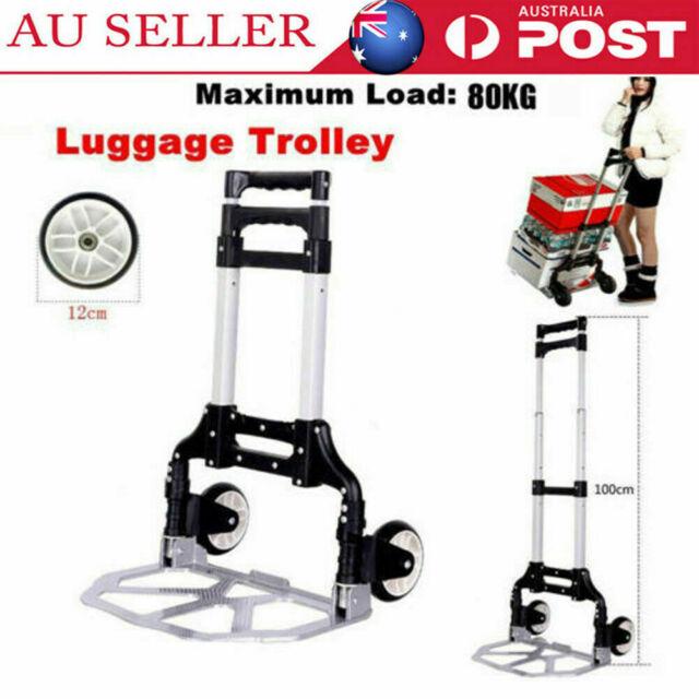f74fb26dcac8 80kg Folding Aluminium Heavy Duty Luggage Trolley Hand Truck Foldable Cart  AU