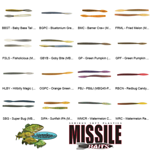 Any 16 Colors 6.5 Inch Soft Plastic Baits Missile Baits Quiver Worm MBQ65