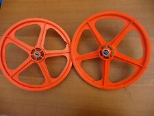 """Skyway Tuff II 20"""" Wheelset - Orange BMX bike wheels NEW Retro Mag"""