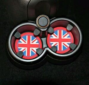 X2-Estera-Antideslizante-Sostenedor-de-taza-72-mm-Union-Jack-GB-Bandera-Reino-Unido-Mini-55-R56-R57